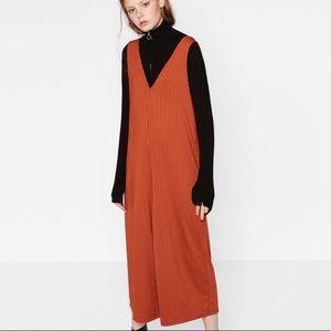 Zara burnt orange ribbed jumpsuit